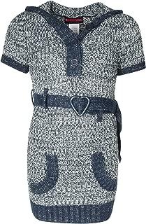 Girls Sweater Dress with Pom-Pom Hood