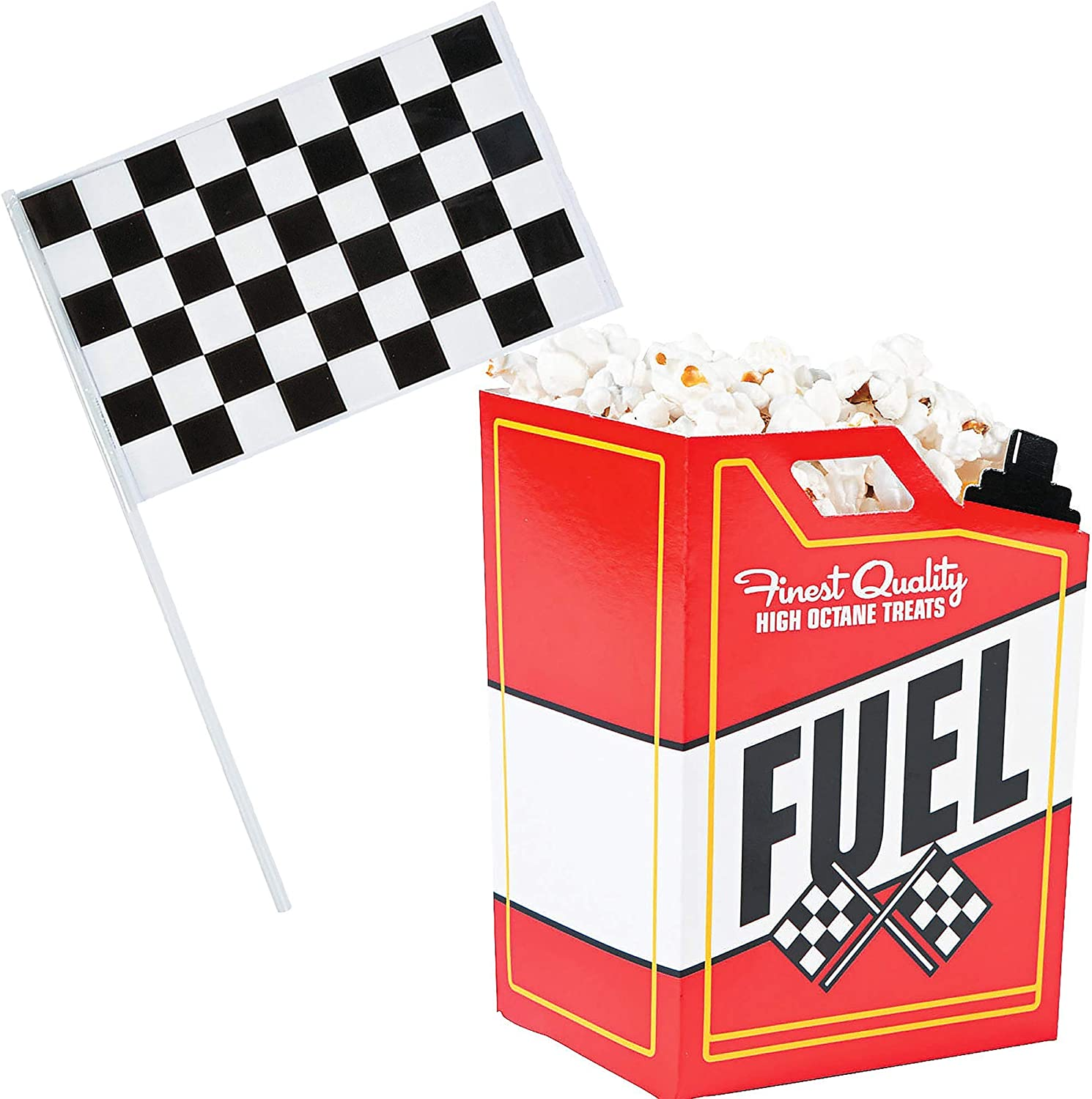 Race Car Popcorn Treat Boxes with Checkered Black and White Racing Stick Flag 6