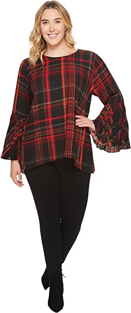 Plus Size Pleated Bell Sleeve Plaid Blouse