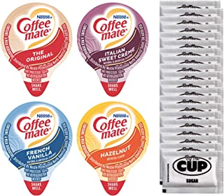 Coffee-Mate Liquid .375oz Variety Pack (4 Flavor) 100 Count includes Original, French Vanilla, Hazelnut, Italian Sweet Crè...