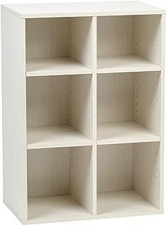 IRIS USA, Inc. Wood Shelf, 6-Compartment, Off Off White