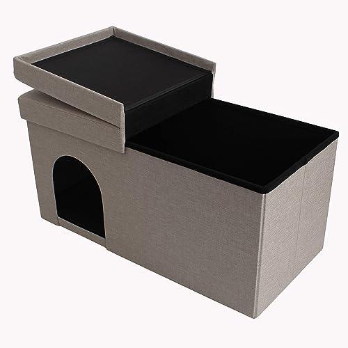 high quality SkyMall popular 4 in 1 Folding high quality Hideaway Pet Storage Ottoman - Tan online