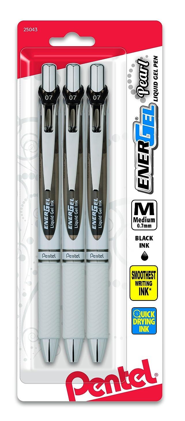 Pentel EnerGel Pearl Deluxe RTX Retractable Liquid Gel Pen, 0.7mm, Black Accent, Black Ink, 3 Pack (BL77WBP3A)