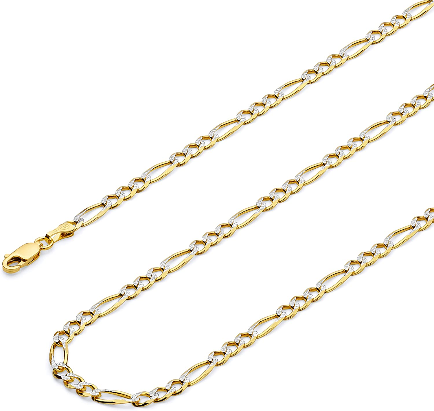 Max 80% OFF TWJC 14k REAL Two Tone Gold Solid 4mm Figaro Store 3+1 Pav White Men's