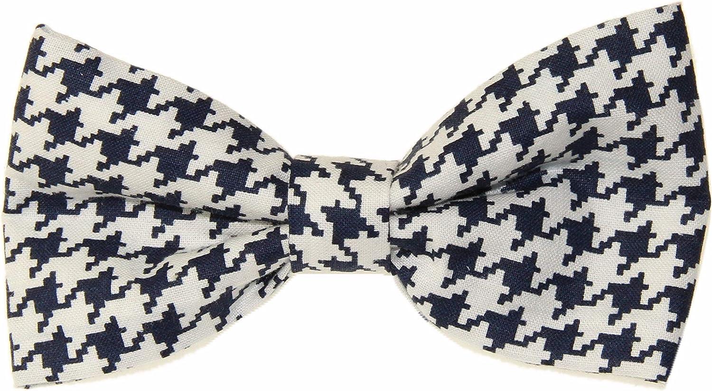 Men's Navy Blue/White Houndstooth Clip On Cotton Bow Tie Bowtie
