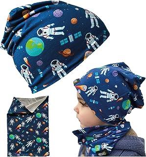 Juego de gorro y buff HECKBO® para niños, adecuado para primavera, verano, otoño, gorro reversible con astronautas del esp...