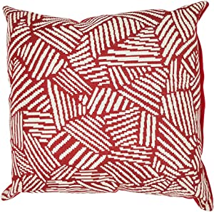 CShopping Throw Pillow Cushion Cover, 18 x 18 Inch, Red Stripe Throw Pillow Cover Outdoor Shell Pillow Case, Home Decoration Square Pillow Cover, for Car Sofa Bed Couch