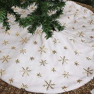 Bianca Gonna per Albero di Natale con Oro Fiocchi di Neve, 78cm Lusso Peluche Tappeto Gonne per Alberi di Natale Base Tapp...