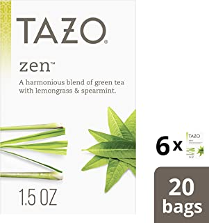 Tazo Zen Green Tea Bags for an invigorating cup of green tea Zen Tea, 20 Count, Pack of 6