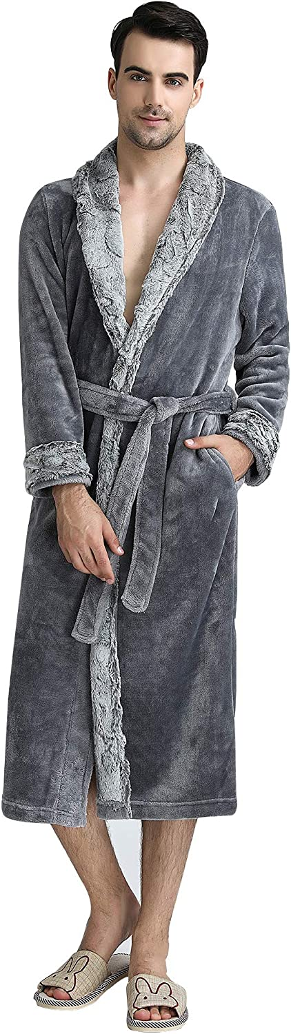Belle Heure Long Fleece Robe Plush Flannel Bathrobes with Pocket Couple Robes