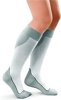JOBST Sport Knee High 15-20 Mmhg Compression Socks, White/Grey, Large, 4 Ounce