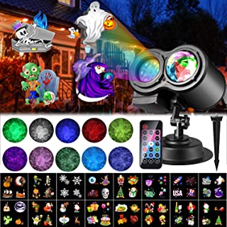 Halloween Christmas LED Projector Lights, LUXONIC 16 Slides Waterproof Outdoor Water Wave & Rotating Gobos Double Projection Light with Remote Control for Halloween Christmas Birthday Holiday