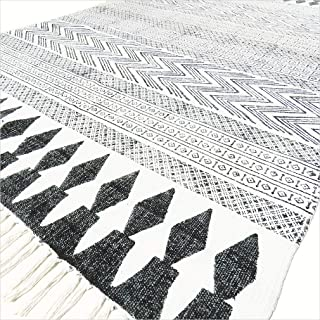 Eyes of India - White Black Cotton Block Print Area Accent Dhurrie Rug Weave Boho Chic Indian Bohemian