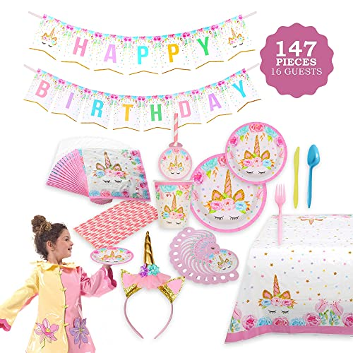 FIG PARTY SUPPLIES AB 135 Unicorn Themed Serves 16 146 Piece Bonus Happy
