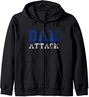 Distressed Funny Quote Tees Tops and Apparel Who Dak Attack Zip Hoodie