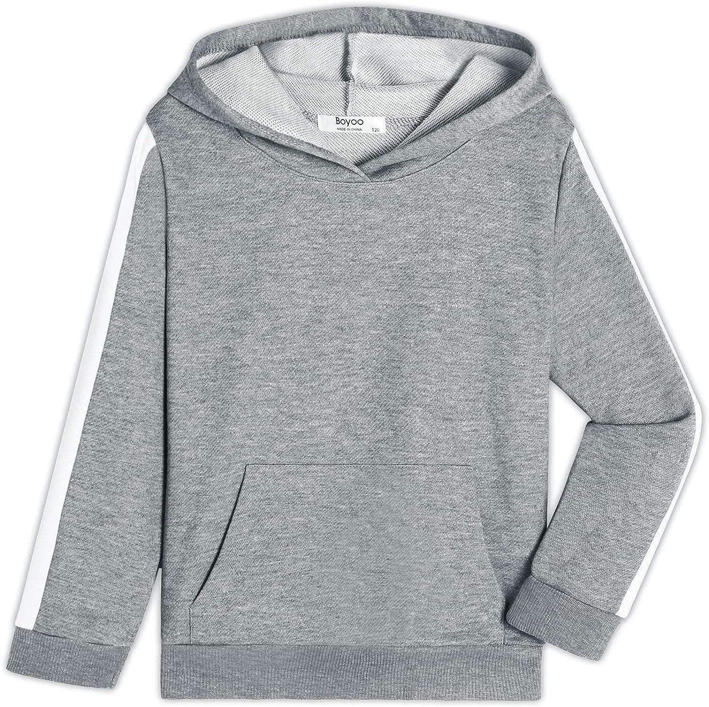 Boyoo Boy's Hoodie Sweatshirt Basic Pullover Hooded Top with Side Stripe for Kids 5-14 Years