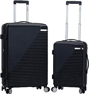 Rockland Star Trail Hardside Spinner Wheel Luggage, Black, 2-Piece Set (20/28)
