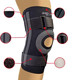 URAKN SPORTS Knee Stabilizer Brace Open Patella Neoprene Max Compression Black Thick Compression Knee Brace Sleeve for Weight Lifting, Crossfit, Support
