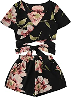 Women's 2 Piece Boho Floral Print Crop Cami Top with Shorts Set