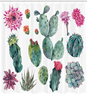"""Ambesonne Nature Shower Curtain, Desert Botanical Herbal Cartoon Style Cactus Plant Flower with Spikes Print, Cloth Fabric Bathroom Decor Set with Hooks, 84"""" Extra Long, Green Pink"""