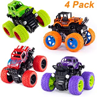 4 Pack Monster Truck Car Toys - Friction Powered Push Go Pull Back Vehicles, Inertia Vehicle Playsets with Shockproof Spring and Rubber Wheel, Pre-Kindergarten Toys  Educational Toy Cars for Kids