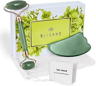 Blisame Jade Roller and Gua Sha Massage Tool Set – Premium Facial Massager for Eye Puffiness and Dark Circles – Natural Ja...
