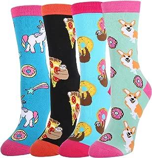 Women's Novelty Funny Animal Crew Socks, Crazy Cute Mermaid Corgi Unicorn Llama