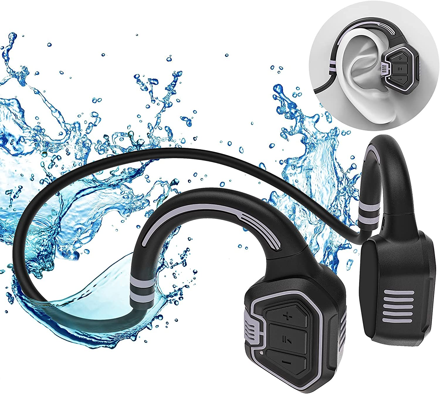 Open Ear Headphones,Wireless Bone Conduction Headset Bluetooth 5.1 with Mic Built-in 16G Memory,IP68 Waterproof Sweatproof - Music Answer Phone Call for Swimming Hiking Driving Bicycling