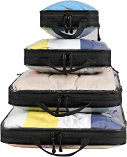 Bagail 4 Set/6 Set Compression Packing Cubes Travel Expandable Packing Organizers(Clear,4 Set)