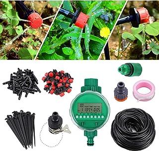 Sistema de Riego por Goteo Bricolaje Riego Automatico de 25 M / 82 pies 4 mm Incluye Temporizador Kit de Riego por Goteo Irrigación para Jardín Patio de Flores Invernadero Parque Huerto