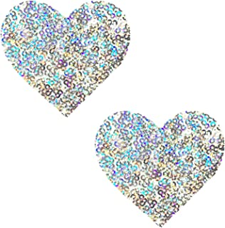 Neva Nude Flip and Sparkle Sequin Heart, Nipztix Pasties Nipple Covers