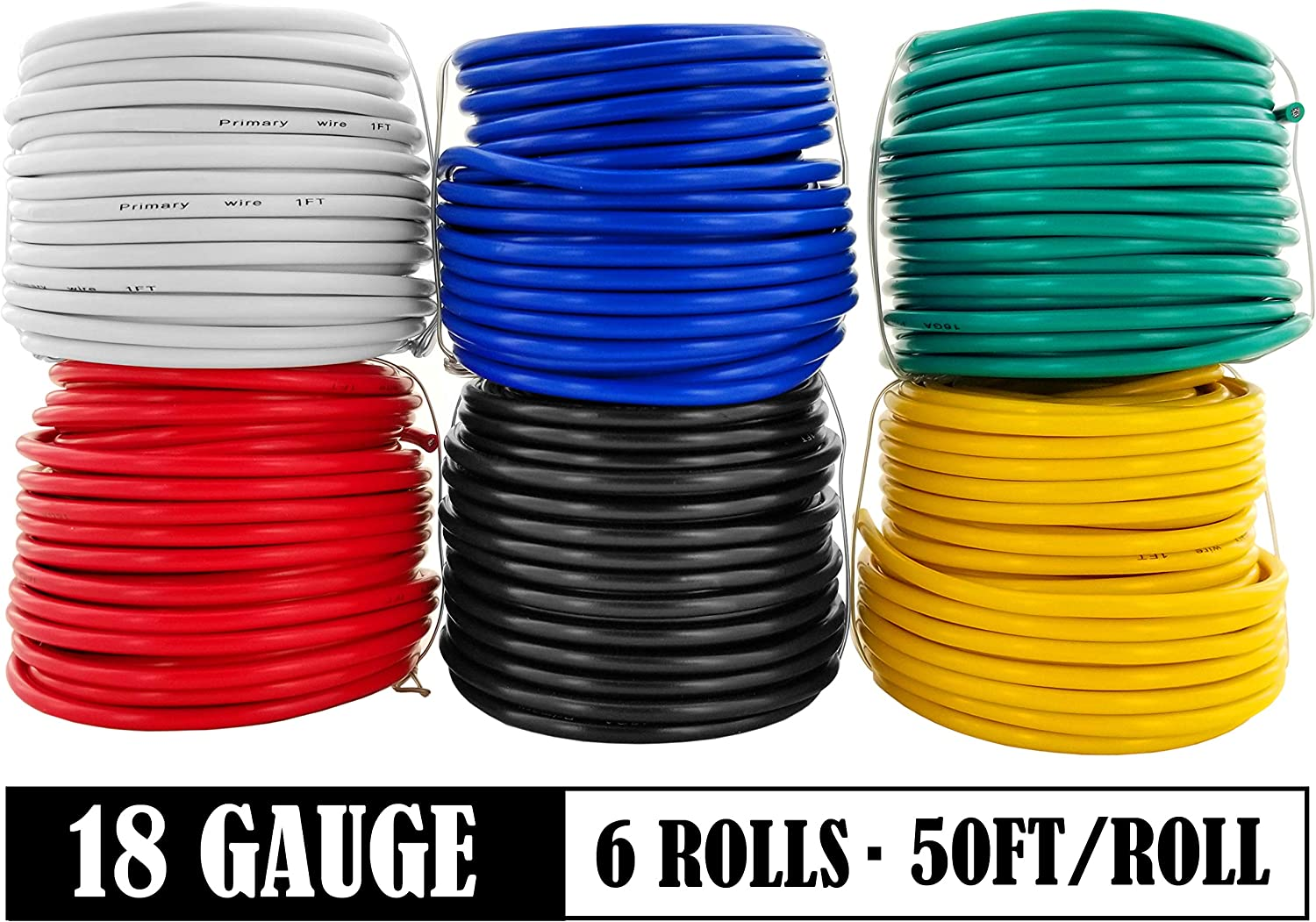 GS Power 14 Gauge Stranded Copper Clad Aluminum Primary Wire Assortment for Car Audio Amplifier Remote Automotive AV Dash Harness Hookup Wiring 10 Color Combo in 50 feet Roll
