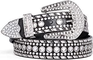 Rhinestone Belt for Women SUOSDEY Western Cowgirl Bling Studded Leather Belt for Jeans Pants