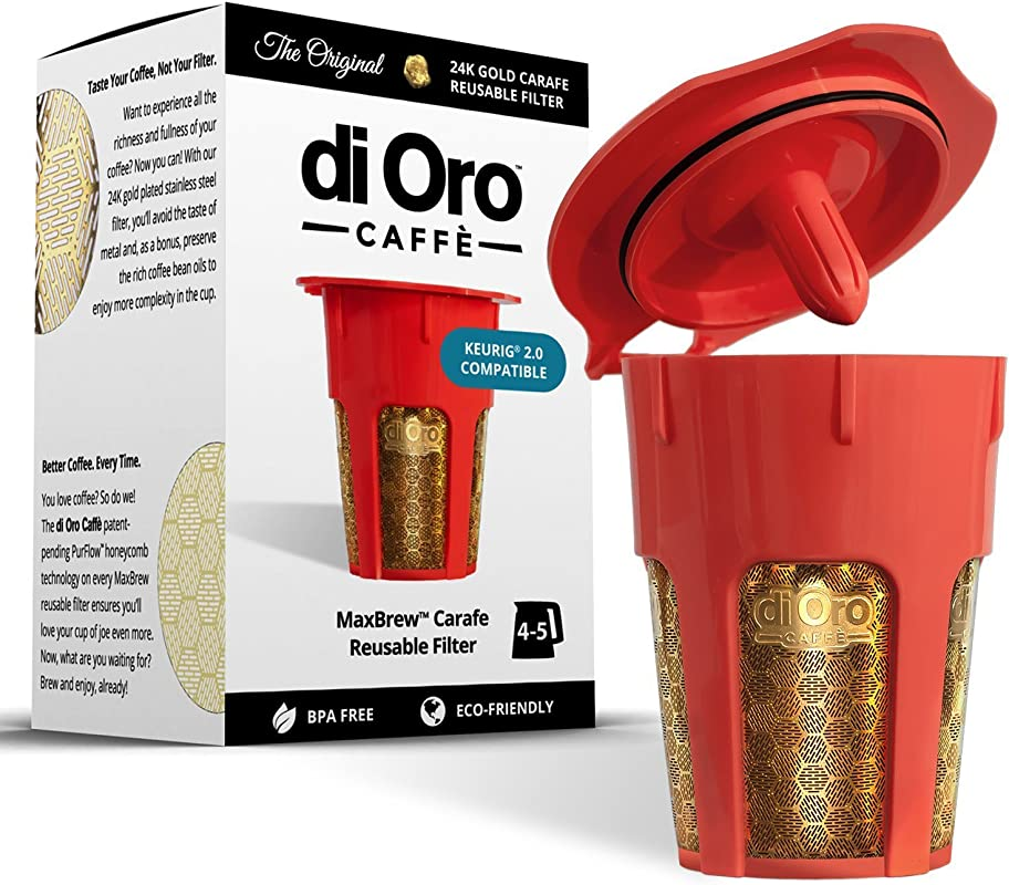 DI ORO MaxBrew 24K Gold Reusable K Carafe Filter For Keurig 2 0 K Cup Reusable 4 5 Cup Carafe Filter For Keurig 2 0