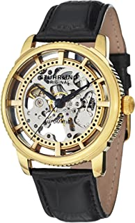 Stuhrling Original Men's Automatic Watch With Gold Dial Analogue Display and Black Leather Strap 393.333530999999