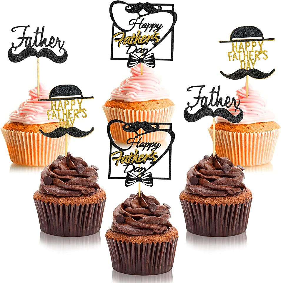 36 Pieces Glitter Father's Day Cupcake Toppers Happy Father's Day Cake Toppers for Father's Day Party Supplies Cake Dessert Picks Decoration