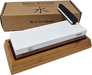 Mizu 1000/6000 Grit Premium Whetstone Knife Sharpening Stone Set, Ideal Sharpener for All Blades, Japanese Style Waterstone with Non Slip Bamboo Base, Includes Angle Guide & Instructions