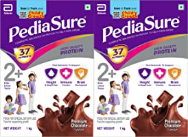 Pediasure Health and Nutrition Drink Powder for Kid's Growth, Chocolate, 1kg (Pack of 2)