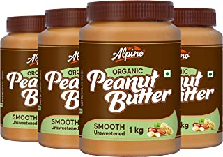 Alpino Organic Natural Peanut Butter Smooth 4 KG - Super Saver Pack | Unsweetened | Made With 100% Roasted Organic Peanuts...