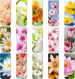 30 Pièces Marque-Pages Magnétiques de Fleurs Marqueurs de Page Magnétiques Floraux Signets Assortis pour École Maison Bure...