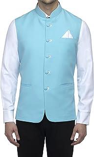 Favoroski Sleeveless Nehru Jacket with Mandarin Collar Waistcoat for Men (Light Blue_38)
