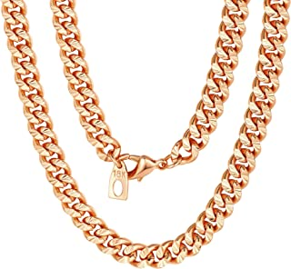 ChainsPro Franco Curb Link Chain,6mm Width, 316L Stainless Steel/18KG Gold Plated, 18-30