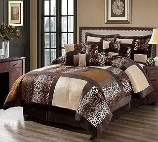 KingLinen 11 Piece Queen Leopard Patchwork Faux Fur Microfiber Bed in a Bag Set