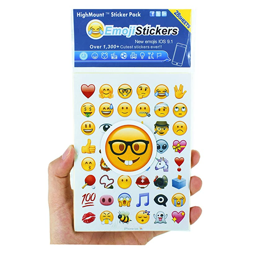 HighMount Newest Emoji Stickers 28 Sheets with Happy Faces Kid Stickers from iPhone Facebook Twitter