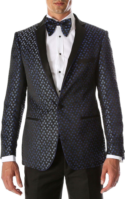 Ferrecci Men's Pronto Modern Fit Black Metallic Star Pattern Tuxedo Blazer with Satin Shawl Lapel and Matching Bowtie