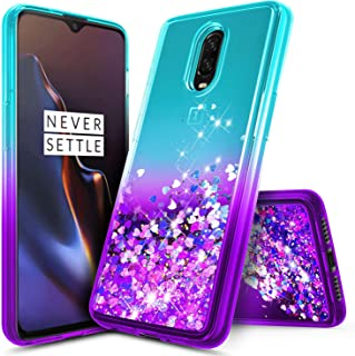 OnePlus 6T Case, NageBee Glitter Liquid Quicksand Waterfall Floating Flowing Sparkle Shiny Bling Diamond Girls Cute Case for The OnePlus 6T Smartphone (2018) -Aqua/Purple