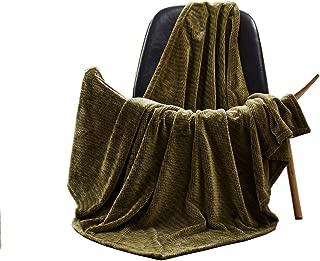 FFLMYUHUL I U Flannel Throw Blanket Soft Fuzzy Lightweight Warm Cozy Reversible Plush All Season Blanket Army Green