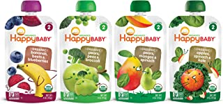 Sponsored Ad - Happy Baby Organic Stage 2 Baby Food Simple Combos Variety Pack, 4 Ounce Pouch (Pack of 16), Assorted Flavo...