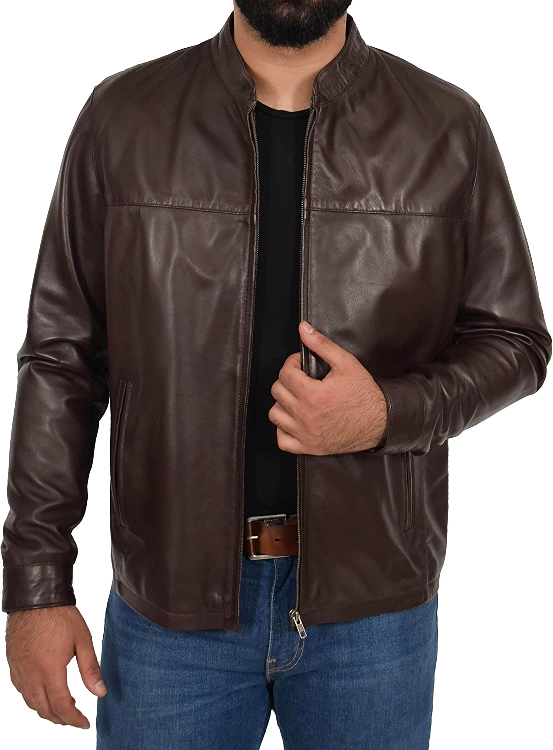 Mens Real Leather Casual Classic Zip Box Standing Collar Jacket Paul Brown