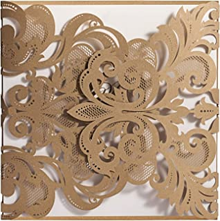WISHMADE 50pcs Gold Square Laser Cut Lace Wedding Invitations with Envelope, Printable Invitations Cards for Engagement Bridal Shower Wedding Invites (Pack of 50pcs)